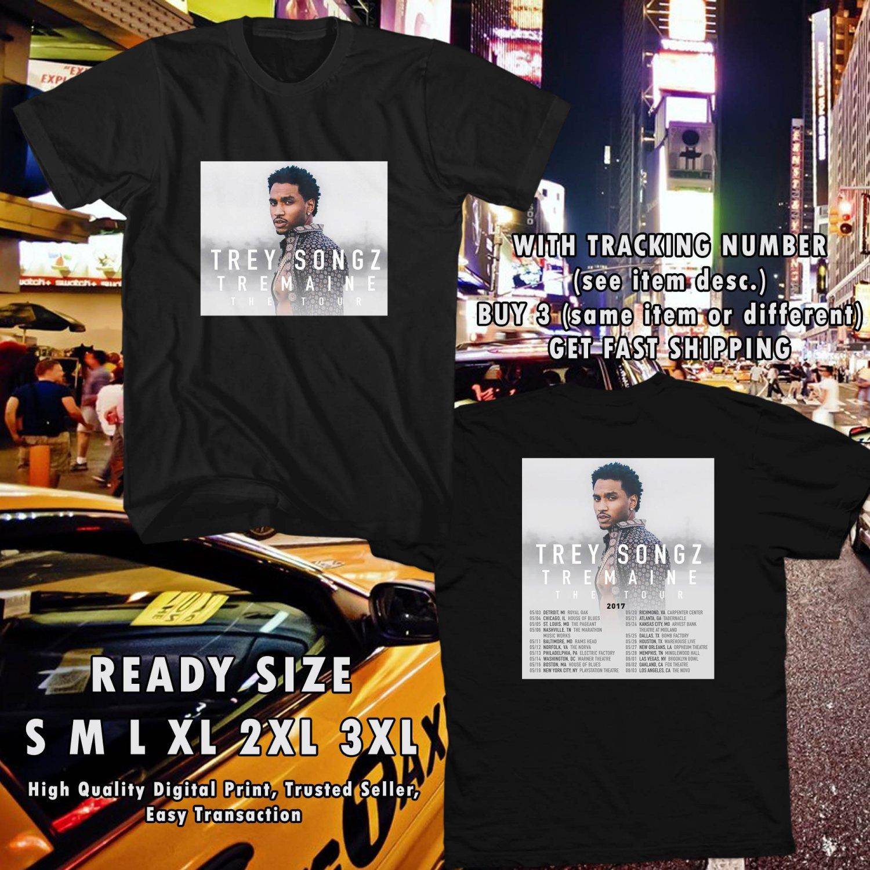 NEW TREY SONGZ TREMAINE THE TOUR 2017 black TEE W DATES DMTR 114
