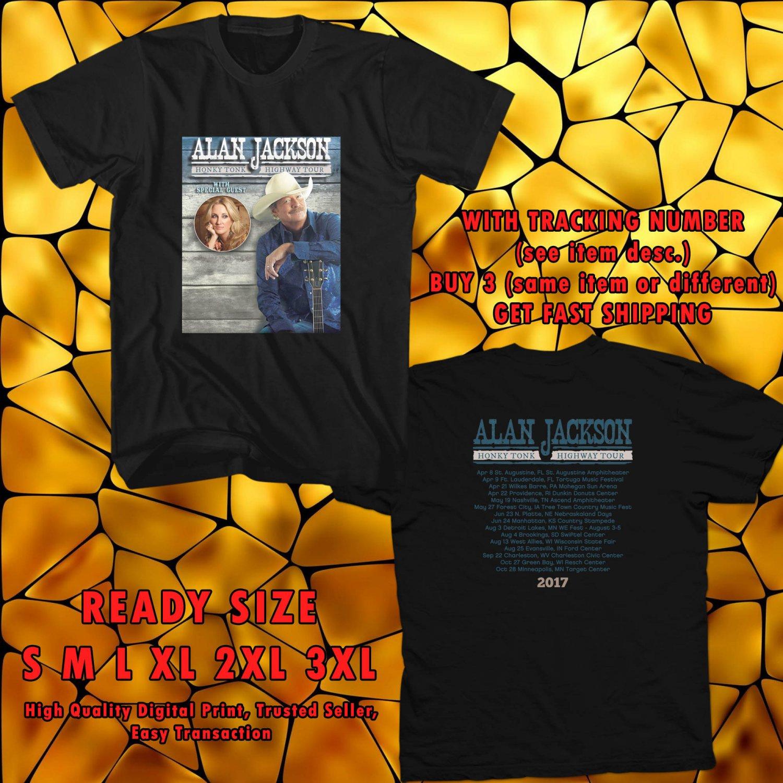 NEW ALAN JACKSON HONKY TONK HIGHWAY TOUR 2017 black TEE 2 SIDE DMTR 112