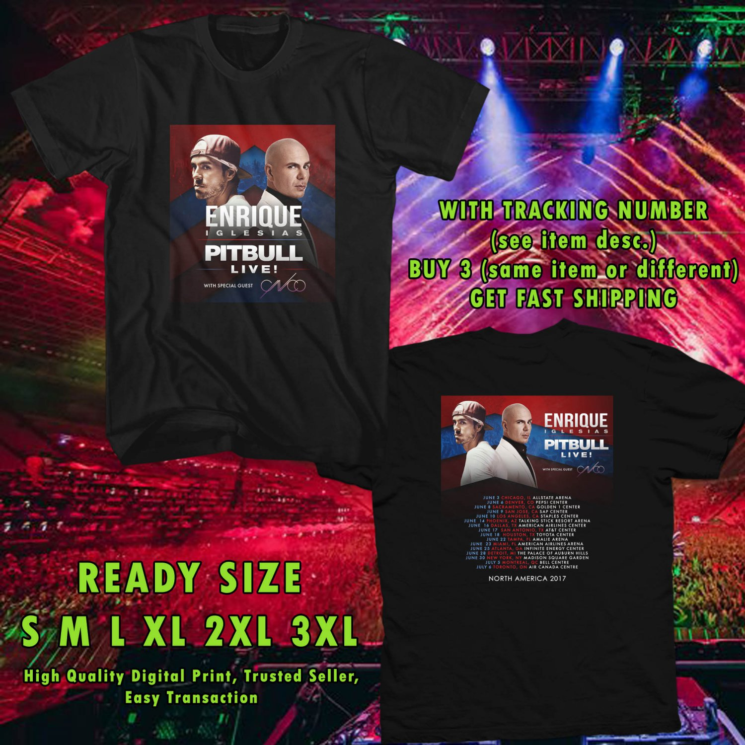 NEW ENRIQUE IGLESIAS AND PITBULL IVE N.AMERICA TOUR 2017 BLACK TEE 2 SIDE DMTR 221