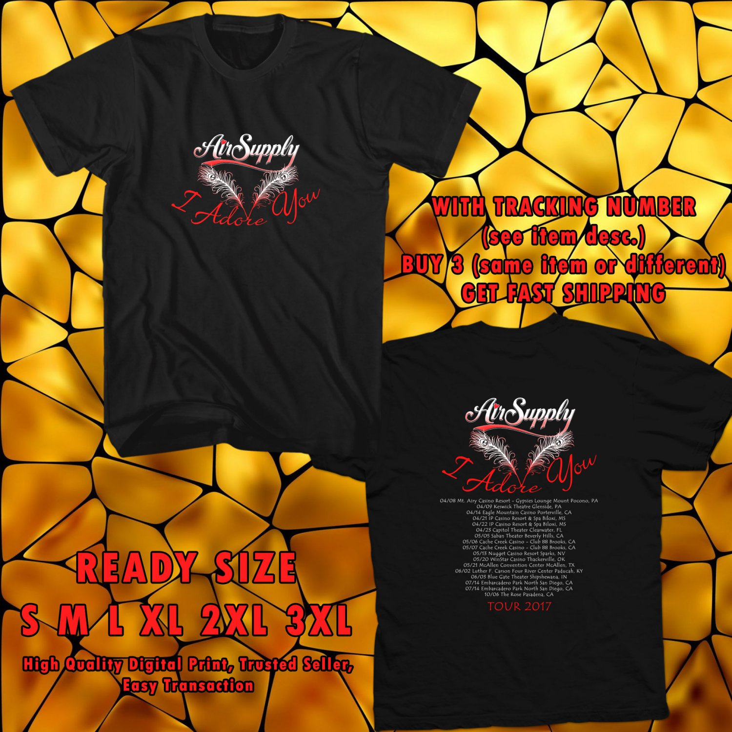 NEW AIR SUPPLY UNITED STATES TOUR 2017 black TEE 2 SIDE DMTR