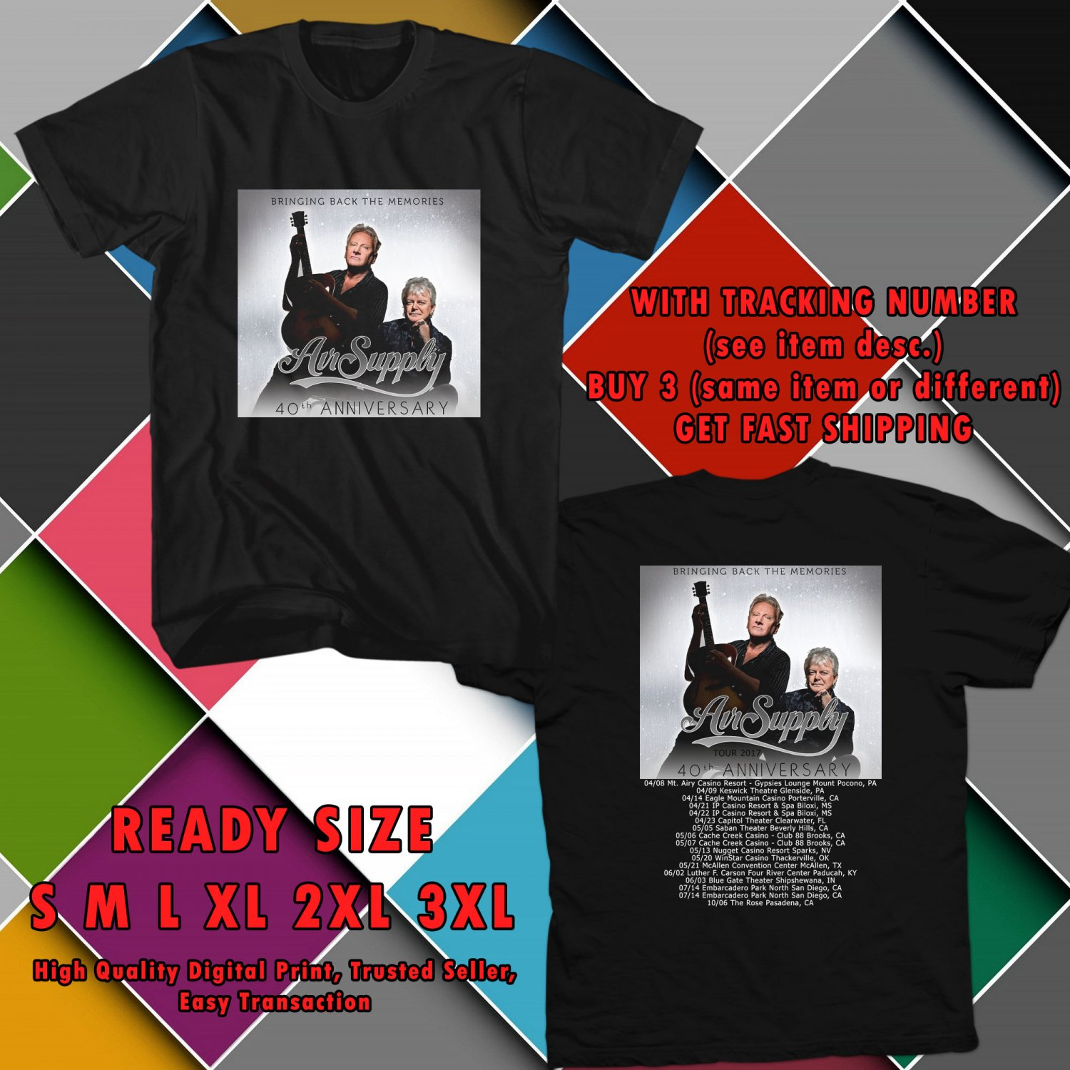 NEW AIR SUPPLY UNITED STATES TOUR 2017 black TEE 2 SIDE DMTR 114