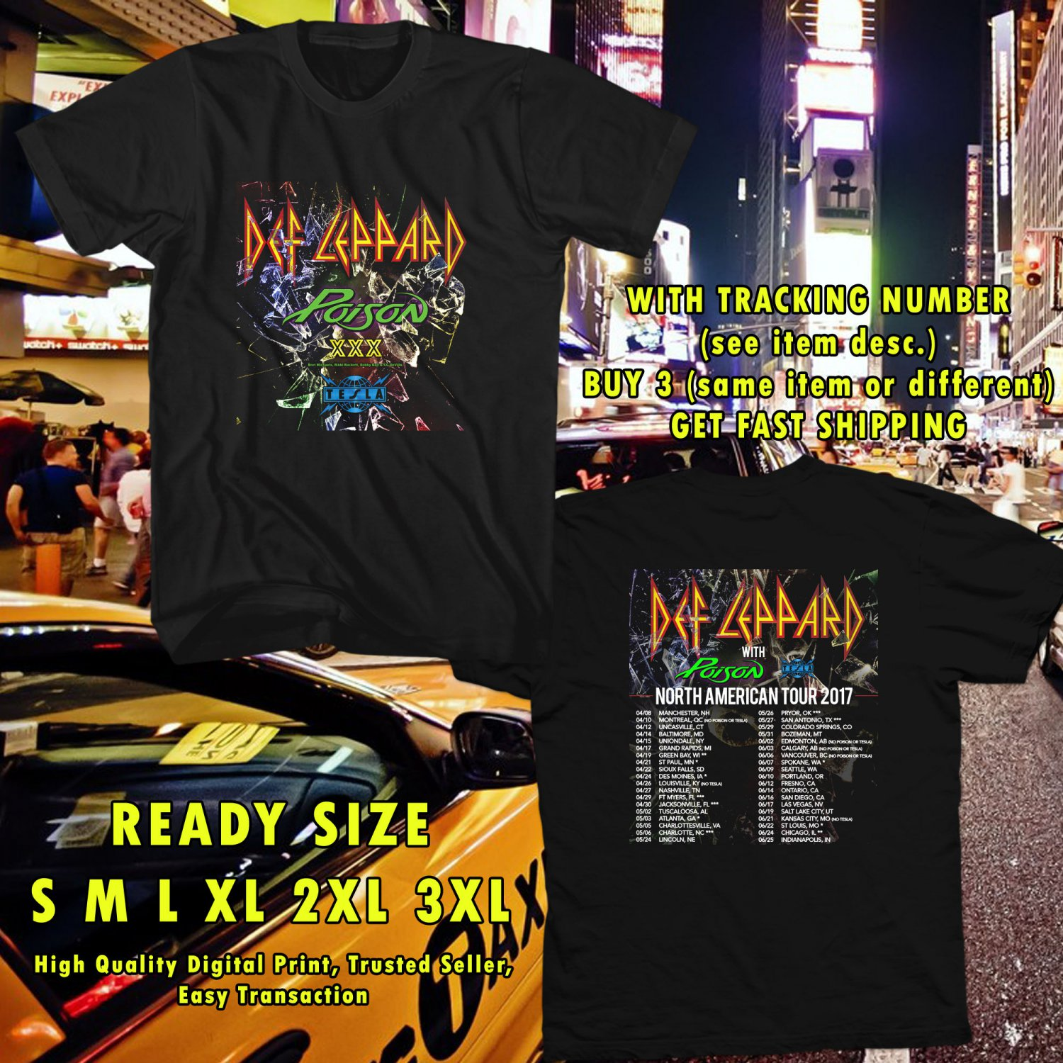 NEW DEF LEPPARD, POSION AND TESLA TOUR 2017 black TEE 2 SIDE DMTR