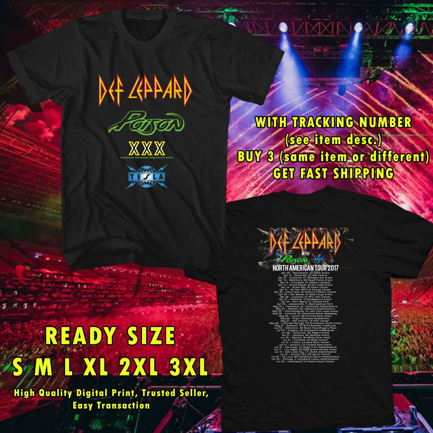 NEW DEF LEPPARD, POSION AND TESLA TOUR 2017 black TEE 2 SIDE DMTR 112