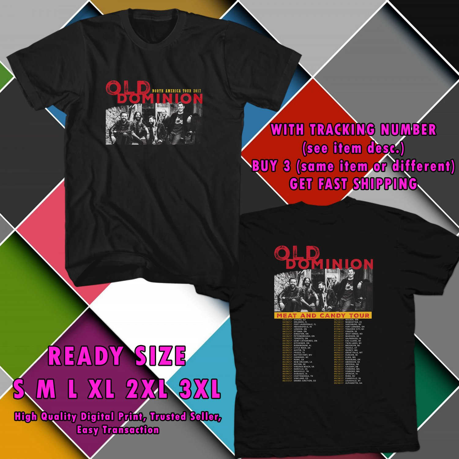 NEW OLD DOMINION NOSUCHTHINGASBROKEN HEART TOUR 2017 BLACK TEE 2 SIDE DMTR 443