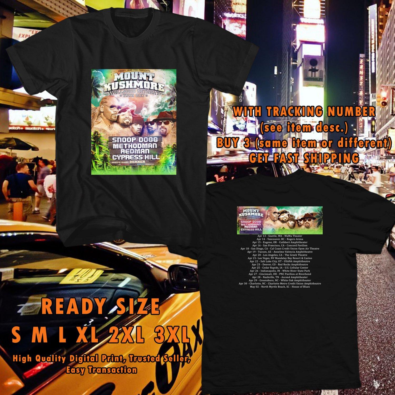 NEW SNOOP DOGG MOUNT KUSHMORE WELLNESS RETREAT TOUR 2017 black TEE 2 SIDE DMTR