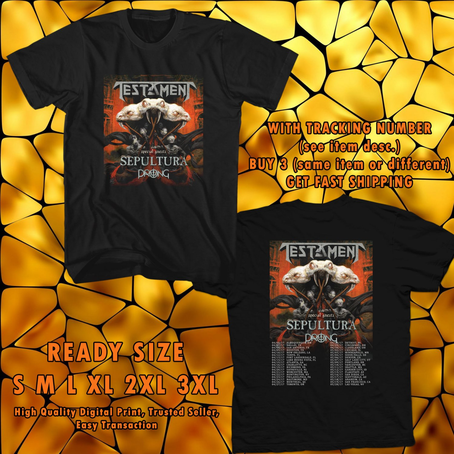 NEW TESTAMENT AND SEPULTURA USA TOUR 2017 black TEE 2 SIDE DMTR
