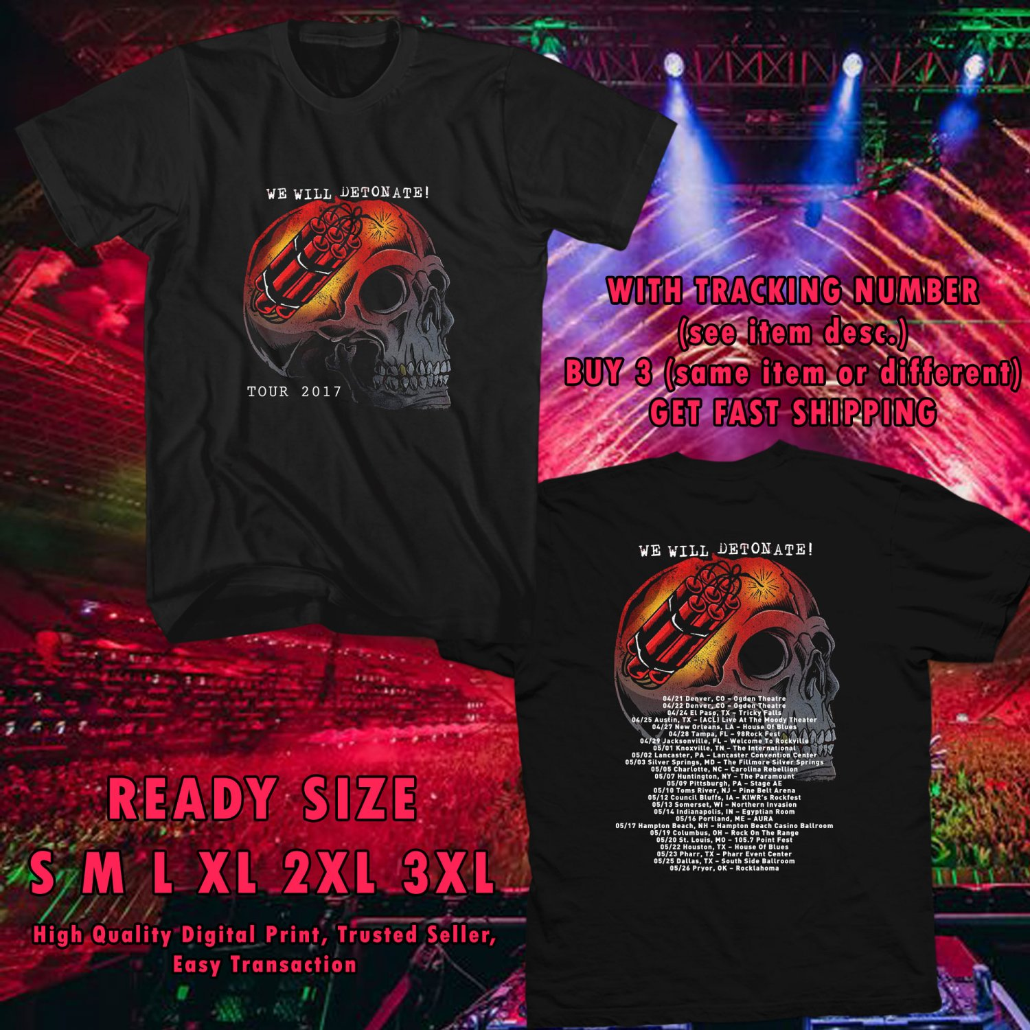 NEW PIERCE THE VEIL AND SUM41 WE WILL DETONATE TOUR 2017 black TEE 2 SIDE DMTR