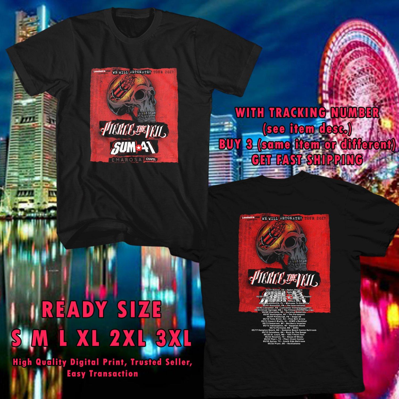 NEW PIERCE THE VEIL AND SUM41 WE WILL DETONATE TOUR 2017 black TEE 2 SIDE DMTR 223