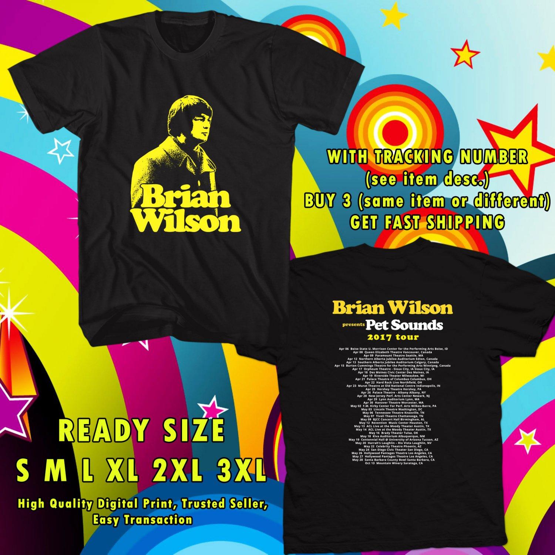 NEW BRIAN WILSON PET SOUNDS TOUR 2017 black TEE 2 SIDE DMTR