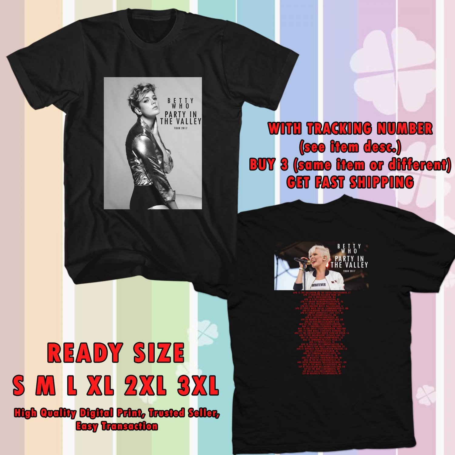 NEW BETTY WHO PARTY IN THE VALLEY TOUR 2017 BLACK TEE W DATES DMTR