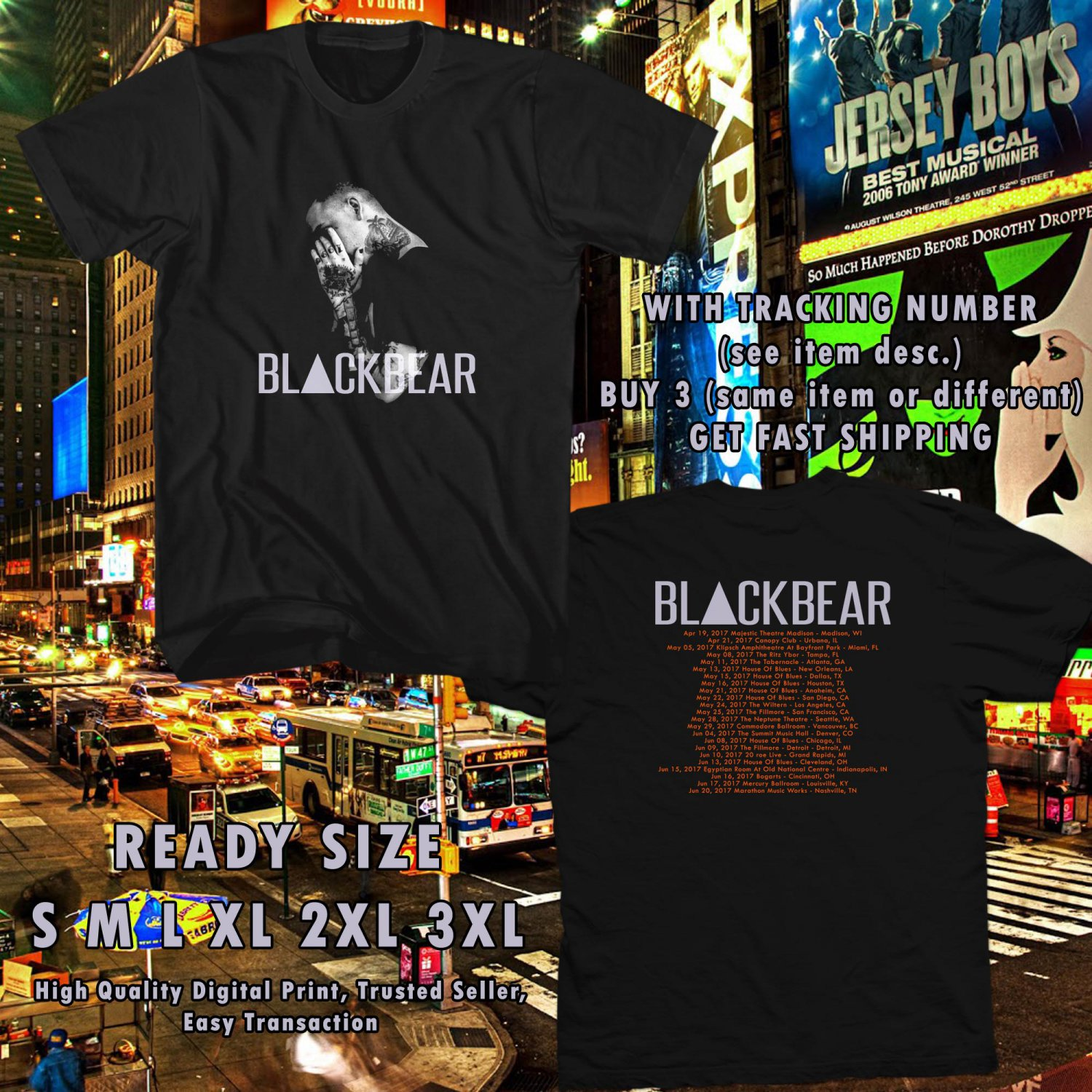 NEW BLACKBEAR DIGITAL DRUG TOUR 2017 BLACK TEE W DATES DMTR 665