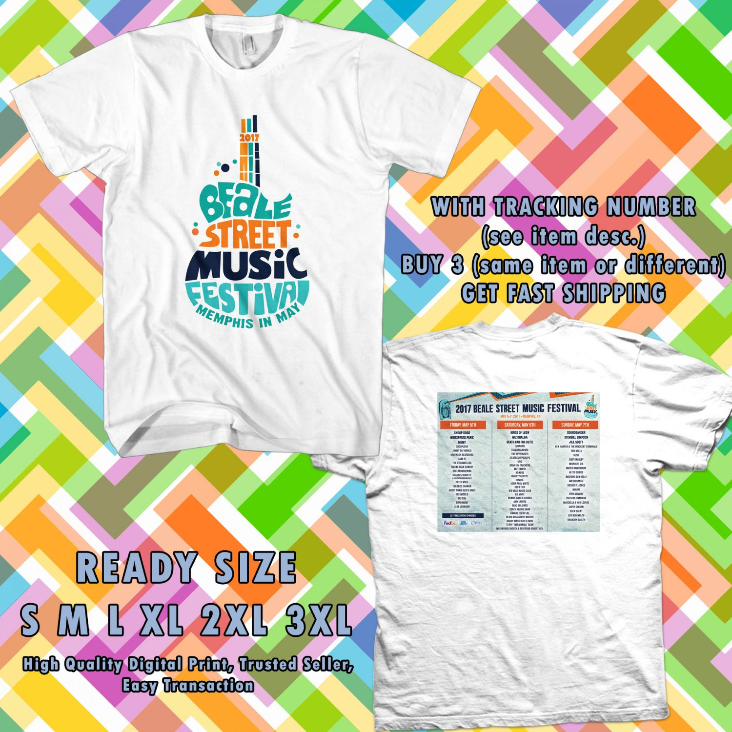NEW BEALE MUSIC FEST MAY 2017 WHITE TEE 2 SIDE DMTR 776