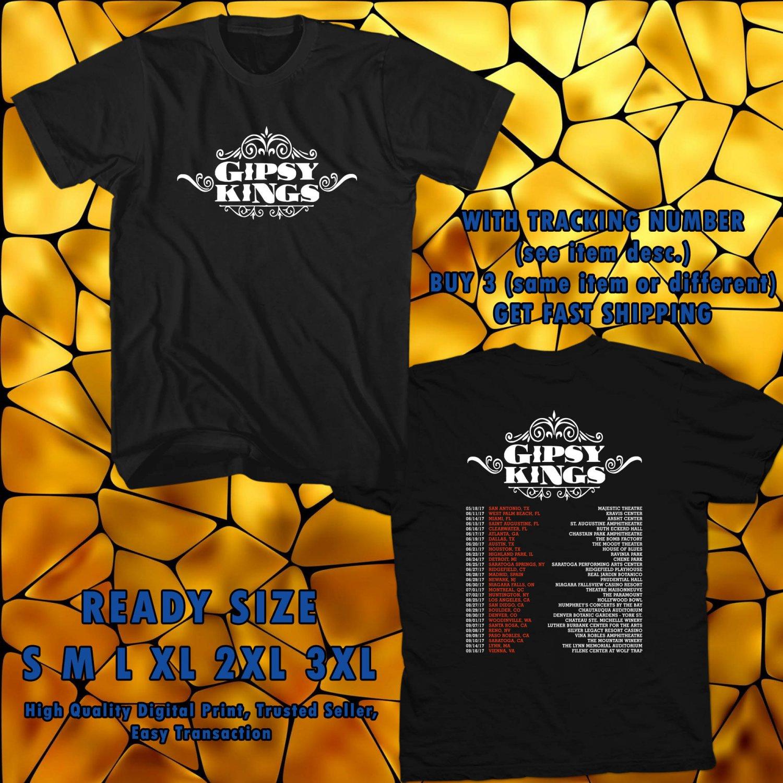NEW GIPSY KINGS TOUR 2017 BLACK TEE W DATES DMTR 599