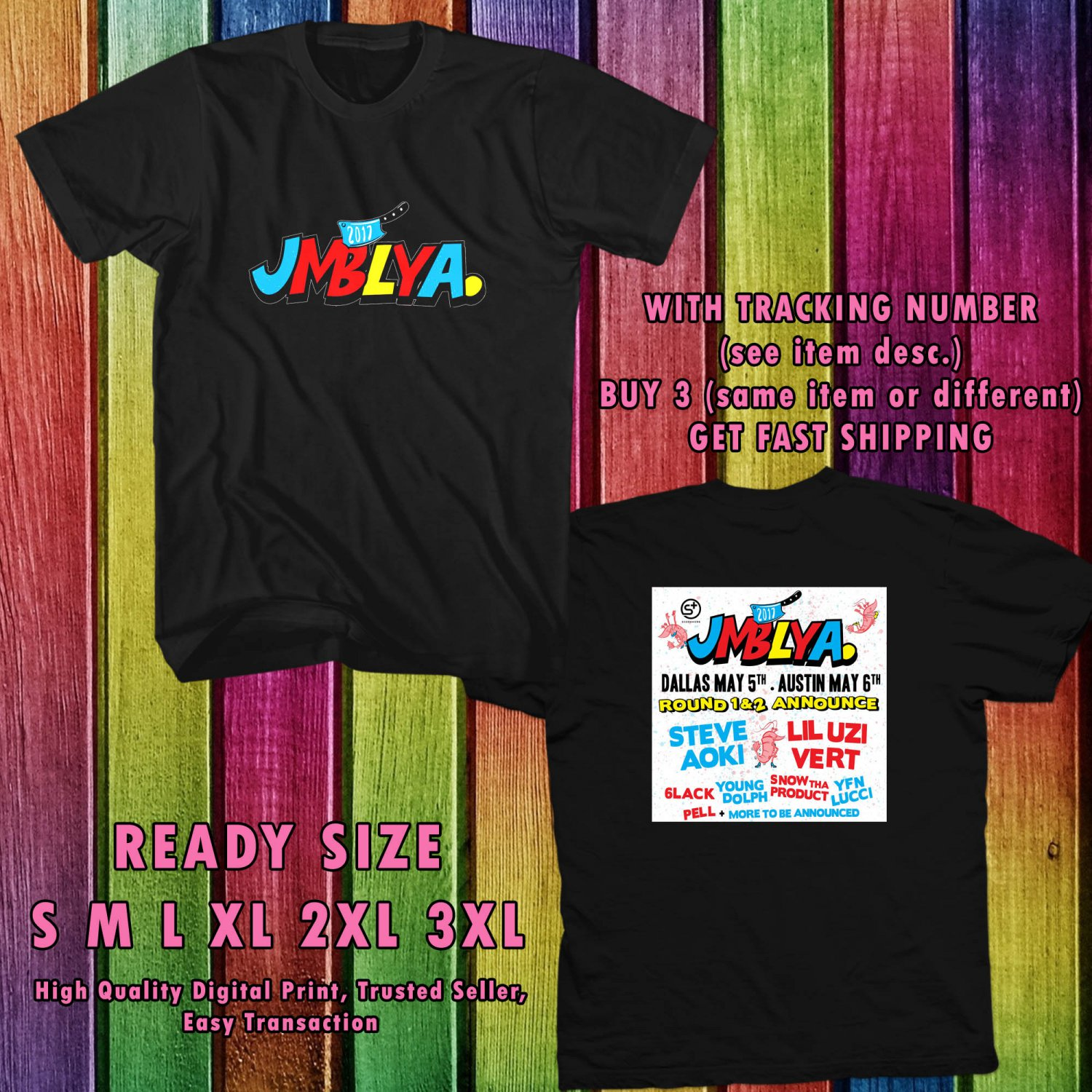 NEW JMBLYA FESTIVAL MAY 2017 black TEE 2 SIDE DMTR 887