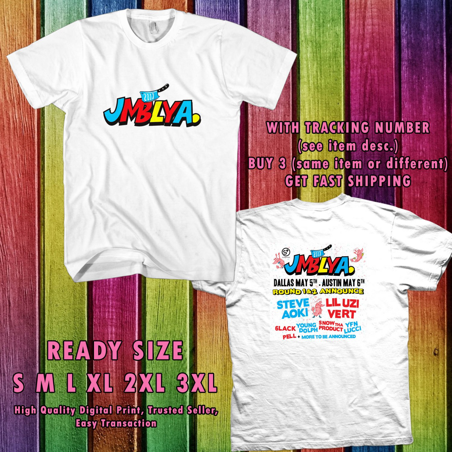 NEW JMBLYA FESTIVAL MAY 2017 WHITE TEE 2 SIDE DMTR