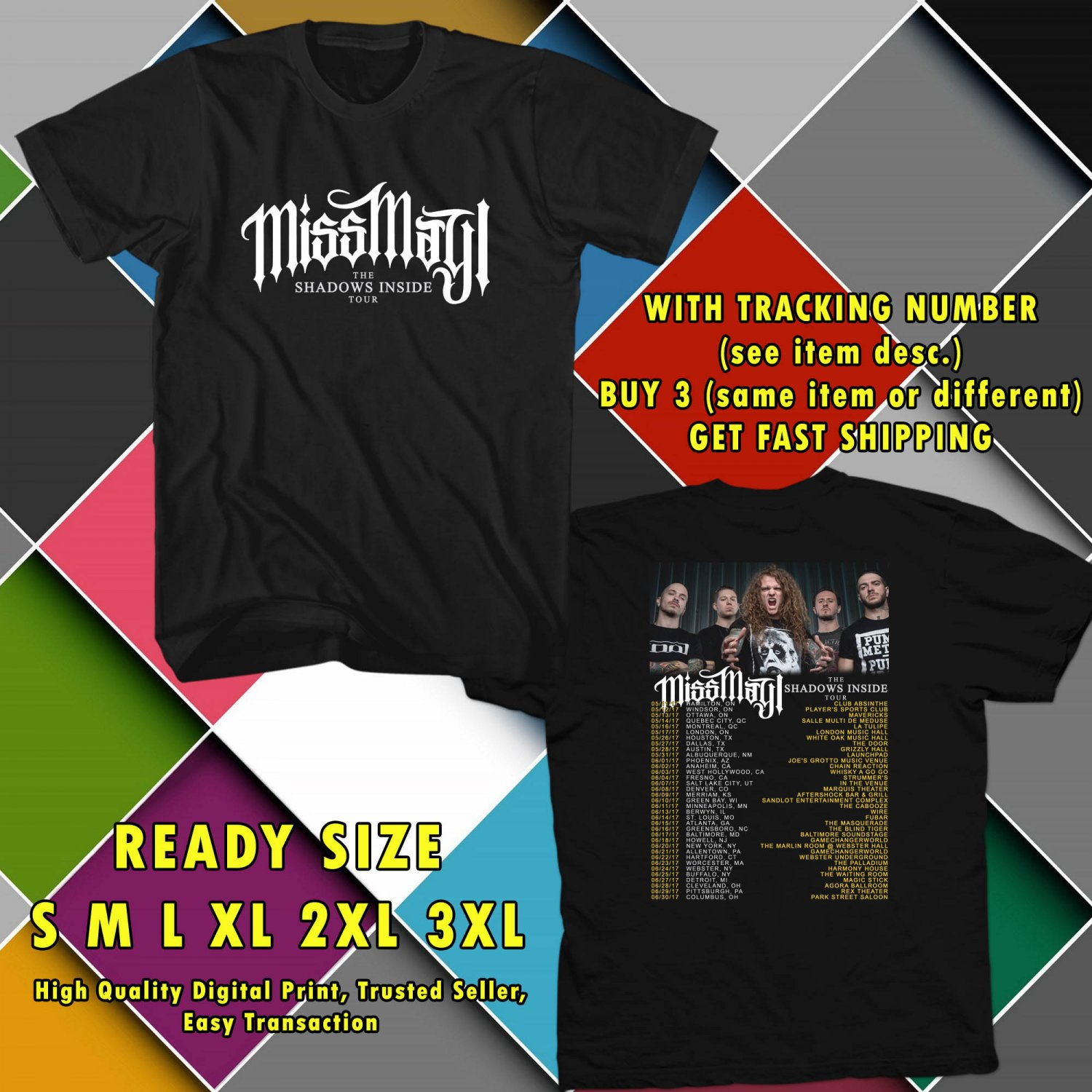 NEW MISS MAY I THE SHADOWS INSIDE TOUR 2017 BLACK TEE W DATES DMTR