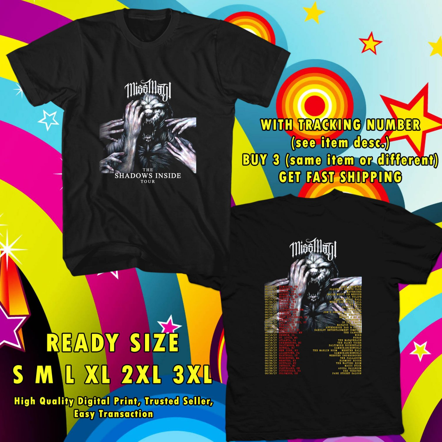 NEW MISS MAY I THE SHADOWS INSIDE TOUR 2017 BLACK TEE W DATES DMTR 544