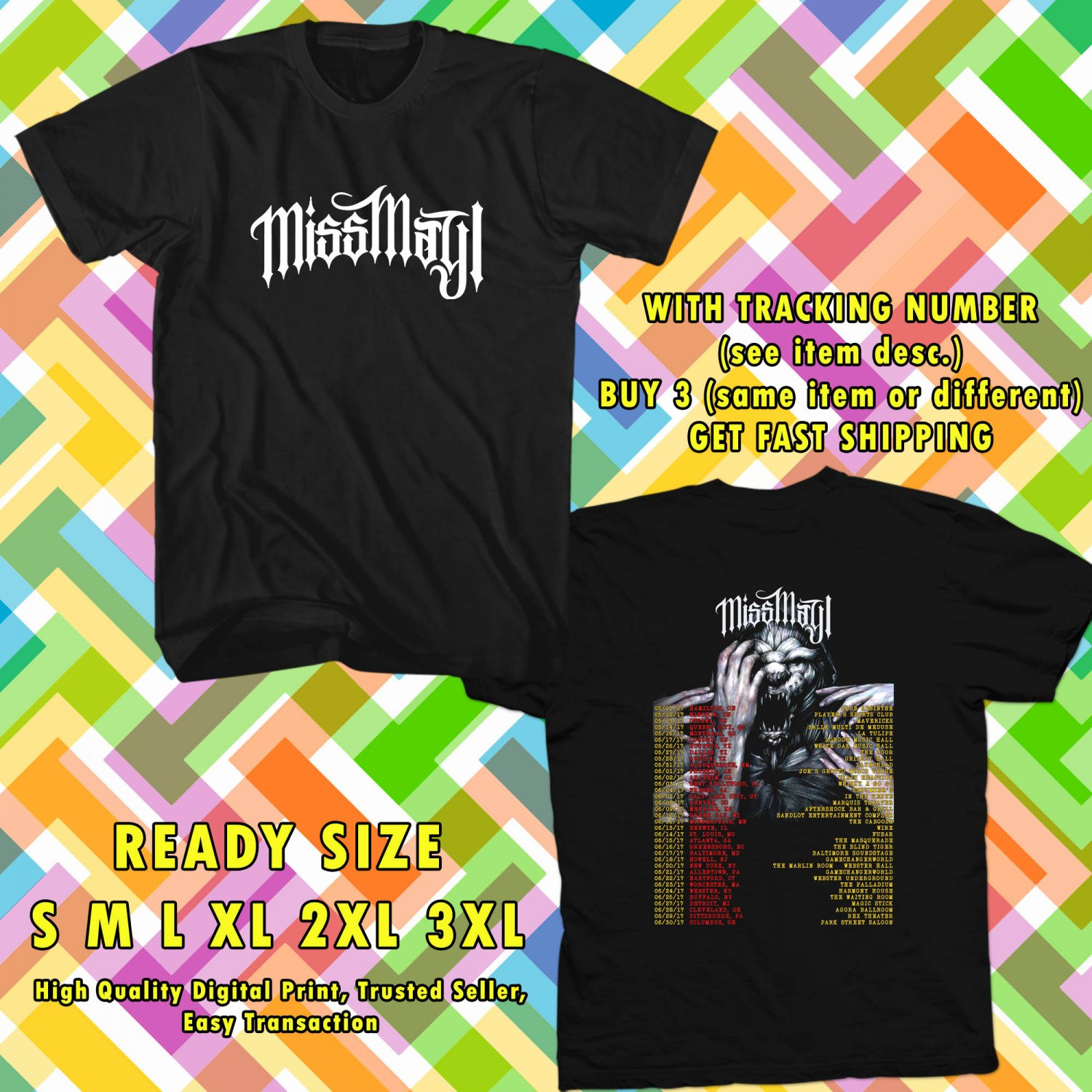 NEW MISS MAY I THE SHADOWS INSIDE TOUR 2017 BLACK TEE W DATES DMTR 776