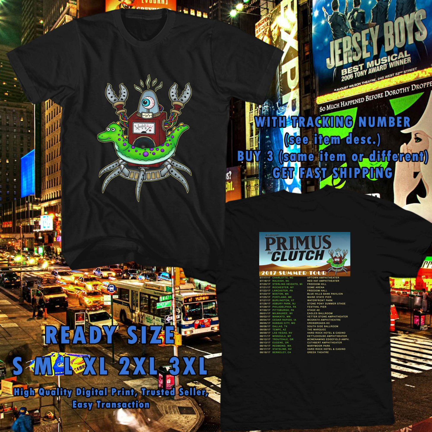 NEW AN EVENING WITH PRIMUS AND CLUTCH SUMMER TOUR 2017 black TEE W DATES DMTR 225
