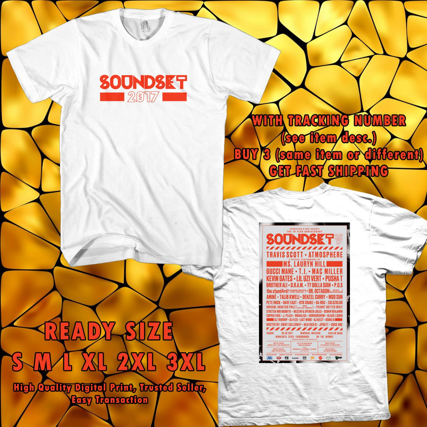 NEW SOUNDSET FESTIVAL MAY 2017 WHITE TEE 2 SIDE DMTR