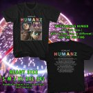 NEW GORRILAZ HUMANZ TOUR 2017 BLACK TEE W DATES DMTR