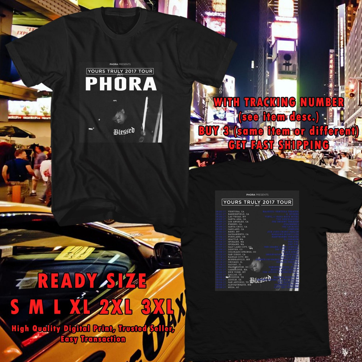 NEW PHORA YOURS TRULY TOUR 2017 BLACK TEE W DATES DMTR 113