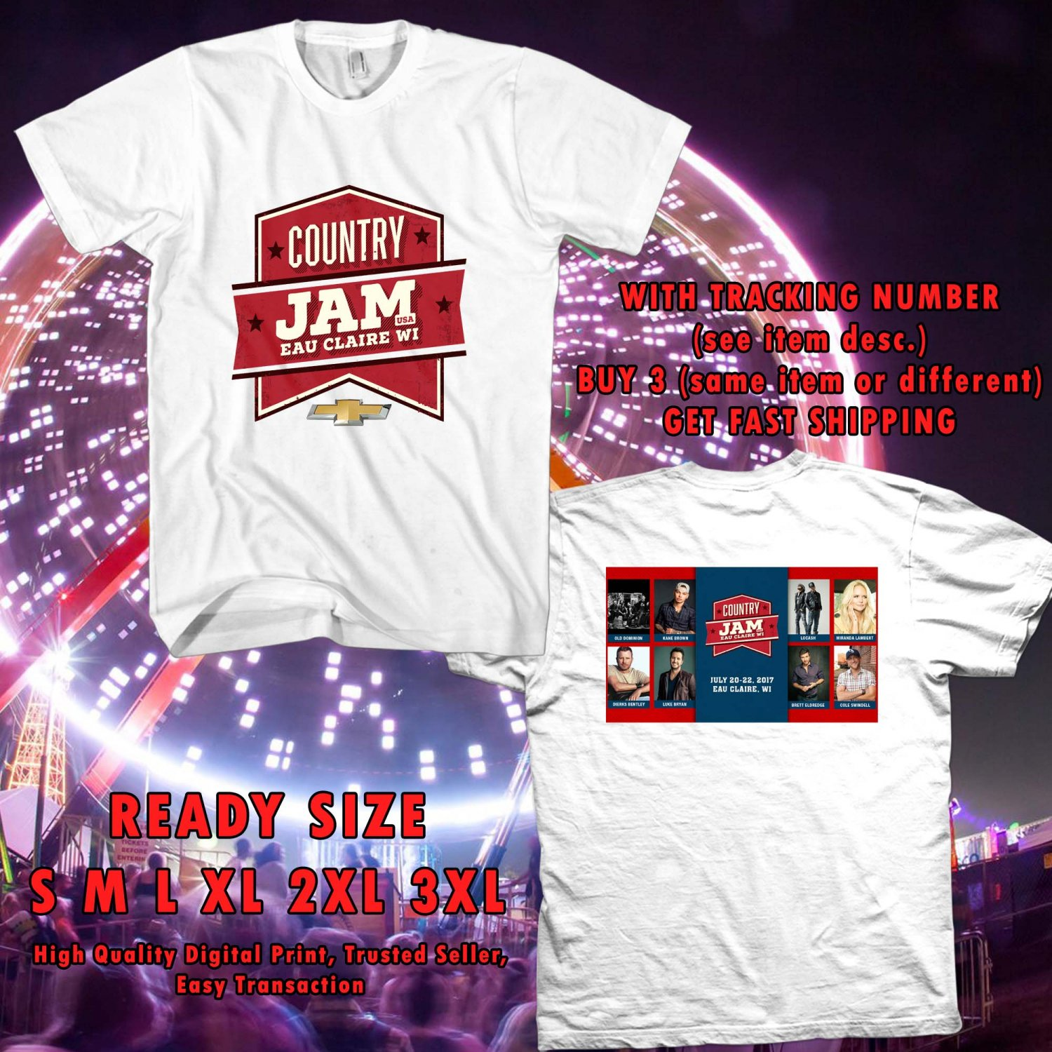HITS COUNTRY JAM WISCONSIN FESTIVAL JUN 2017 WHITE TEE'S 2SIDE MAN WOMEN ASTR