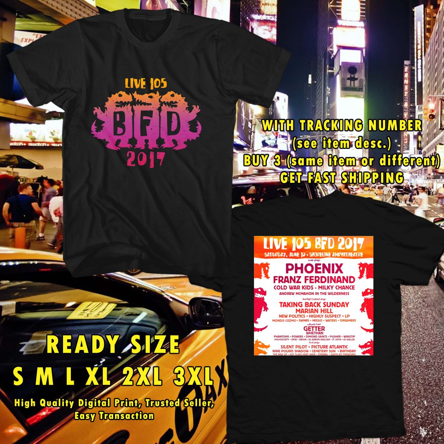 HITS LIVE 105'S BFD FESTIVAL JUN 2017 BLACK TEE'S 2SIDE MAN WOMEN ASTR