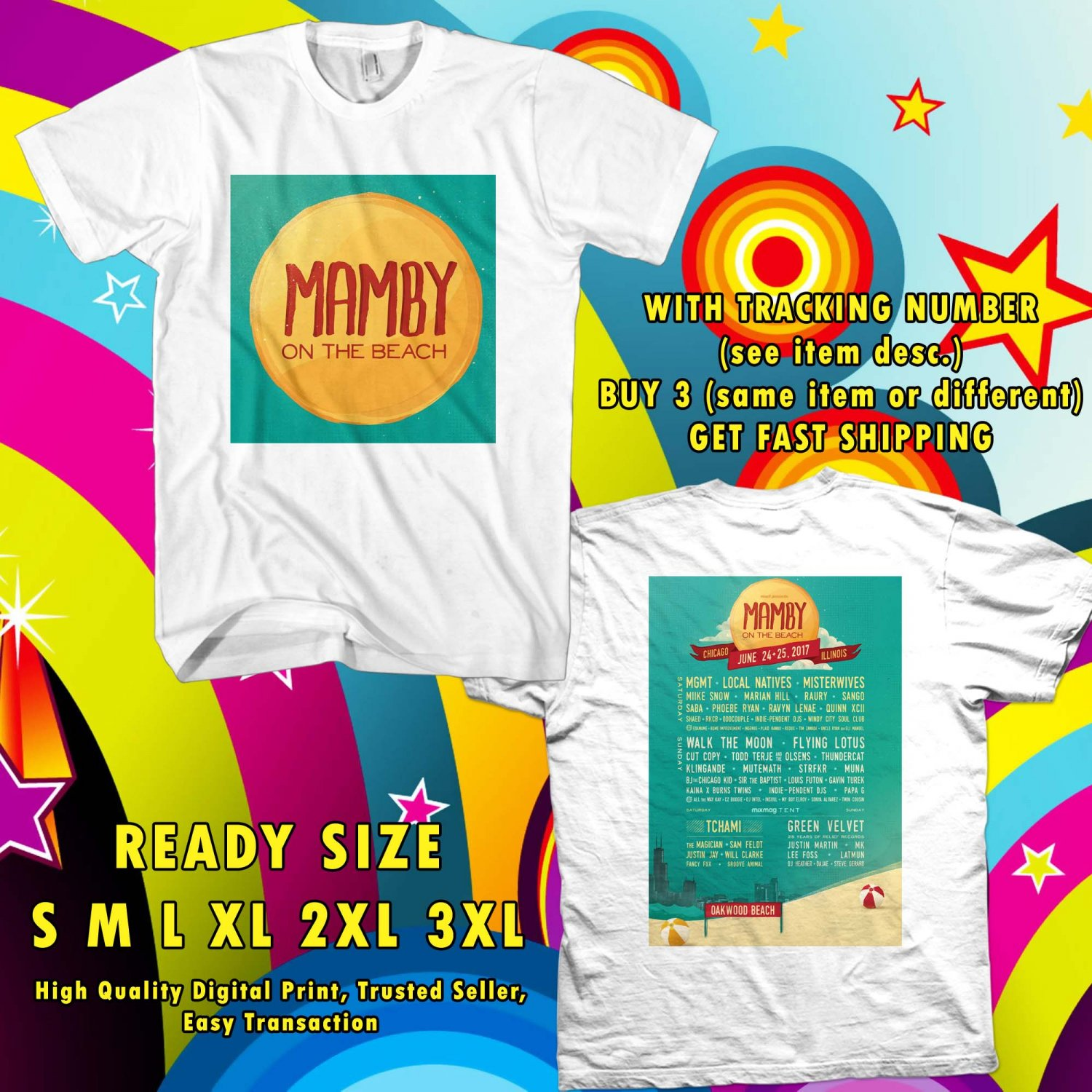 HITS MAMBY ON THE BEACH JUN 2017 WHITE TEE'S 2SIDE MAN WOMEN ASTR
