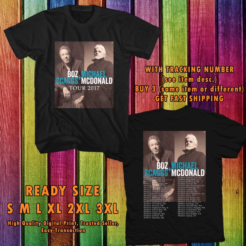 HITS BOZZ SCAGGS & MICHAEL McDONALD TOUR 2017 BLACK TEE'S 2SIDE MAN WOMEN ASTR 990
