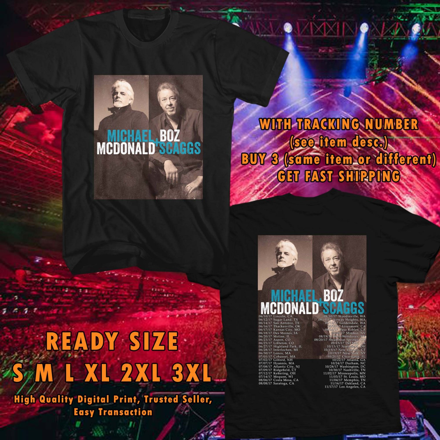 HITS MICHAEL McDONALD & BOZZ SCAGGS TOUR 2017 BLACK TEE'S 2SIDE MAN WOMEN ASTR 887