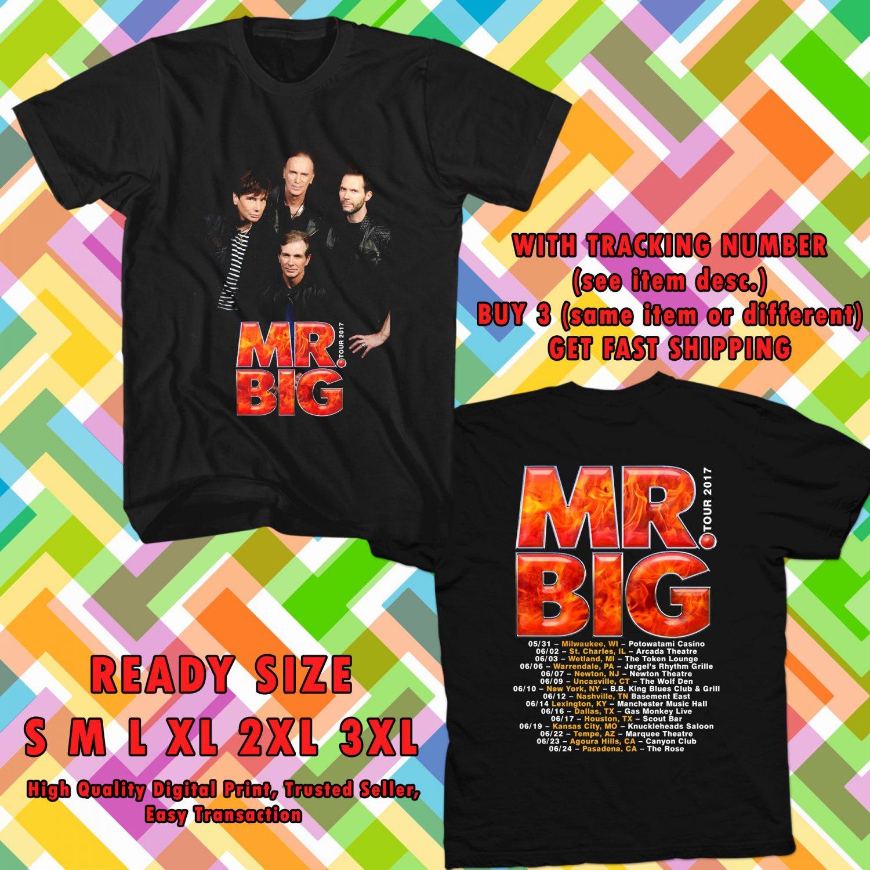 HITS MR. BIG NEW ALBUM DEFYING GRAVITYV TOUR 2017 BLACK TEE'S 2SIDE MAN WOMEN ASTR 990