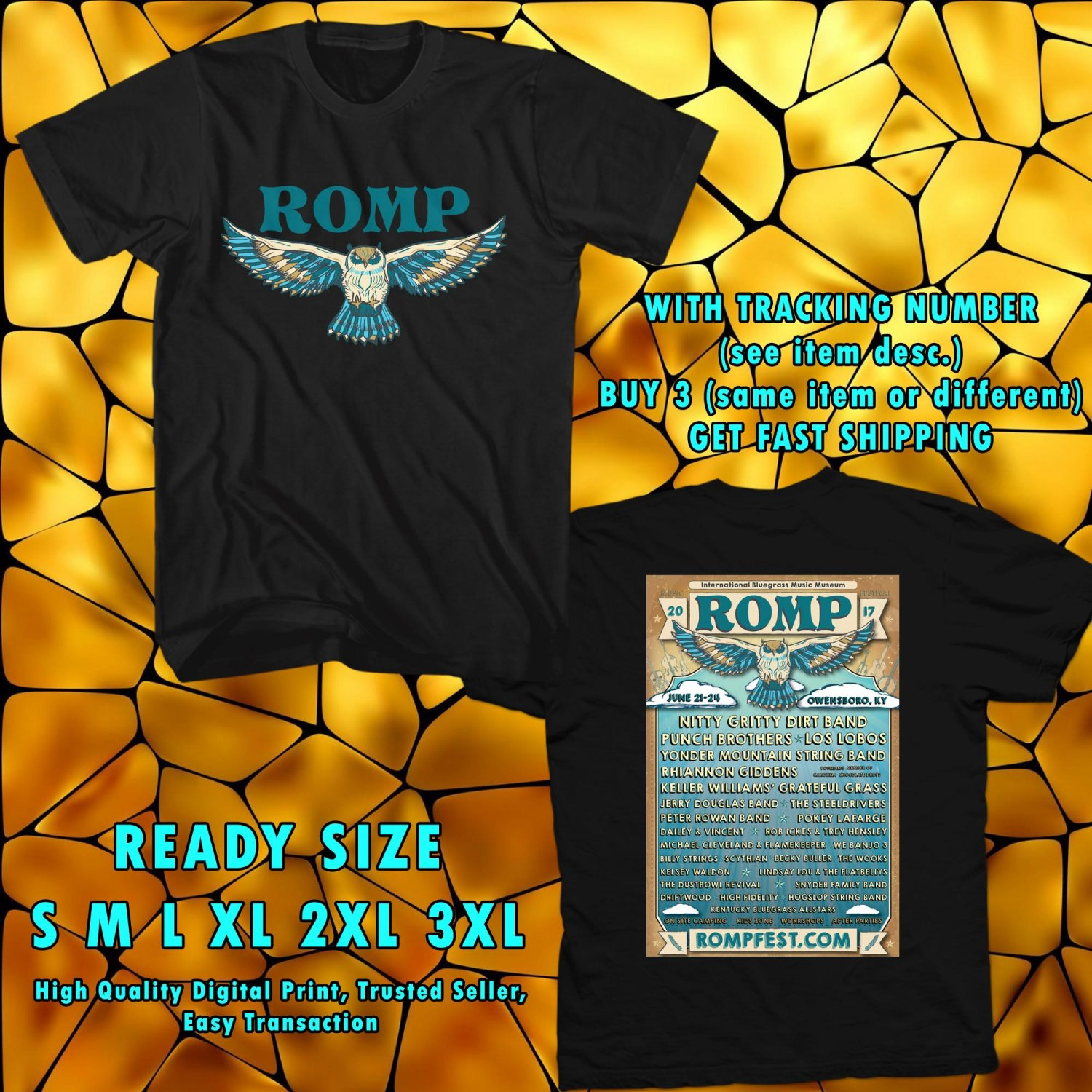 HITS ROMP FEST JUNE 2017 BLACK TEE'S 2SIDE MAN WOMEN ASTR