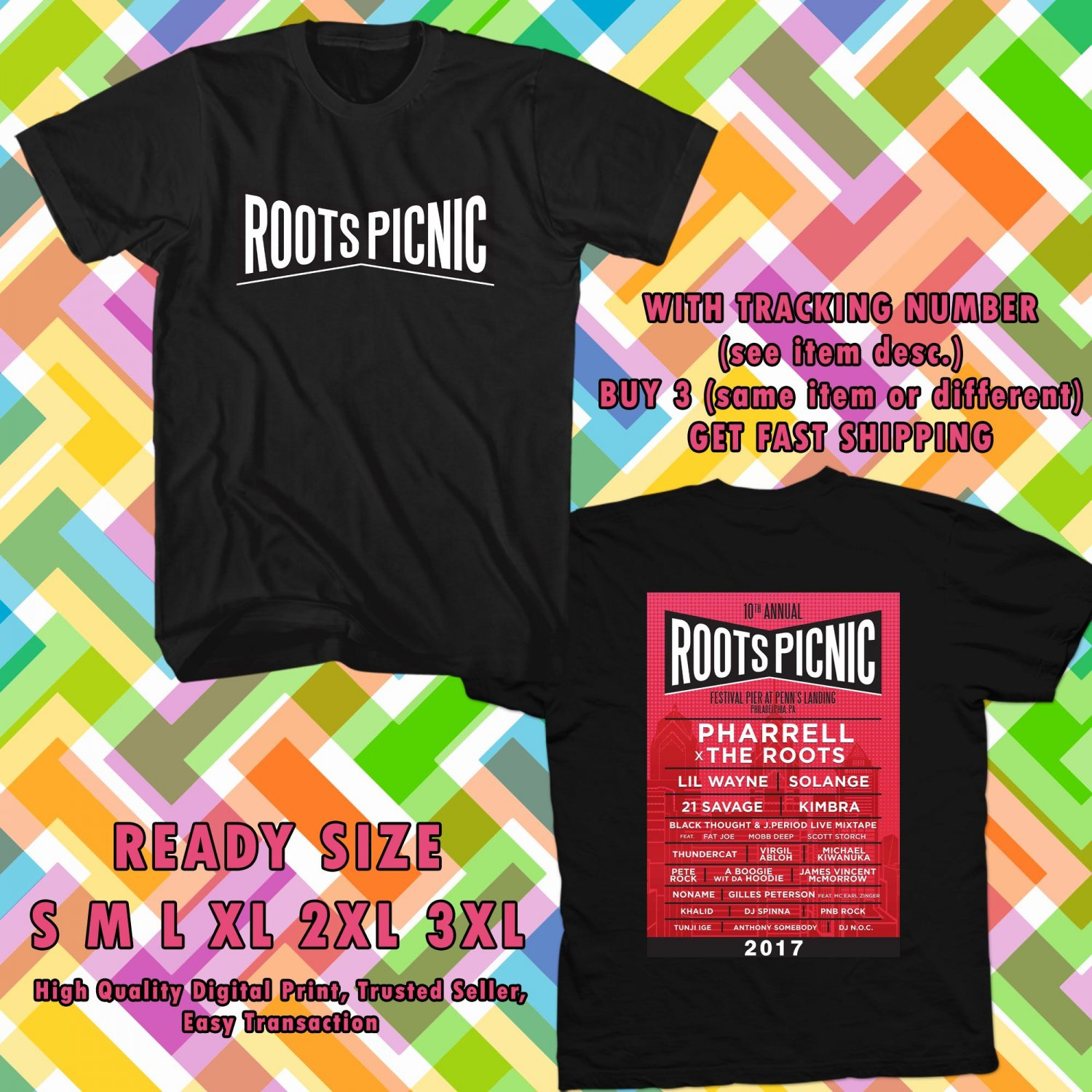 HITS ROOTS PICNIC FEST JUNE 2017 BLACK TEE'S 2SIDE MAN WOMEN ASTR