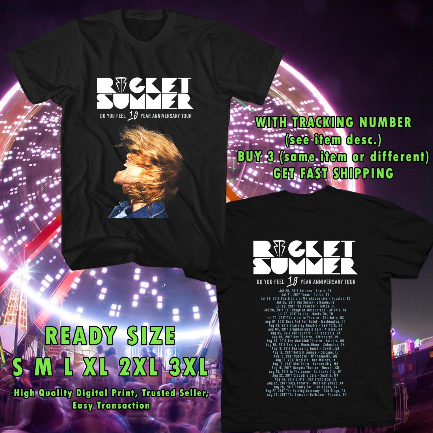 HITS ROCKET SUMMER : DO YOU FEEL 10 YEARS TOUR 2017 BLACK TEE'S 2SIDE MAN WOMEN ASTR 331