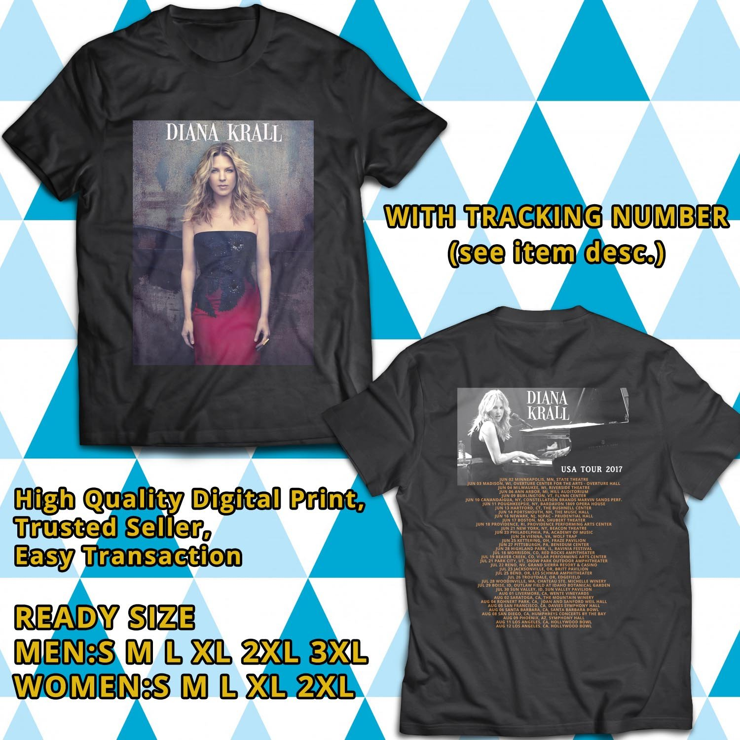 HITS DIANA KRALL UNITED STATES TOUR 2017 BLACK TEE'S 2SIDE MAN WOMEN ASTR 333