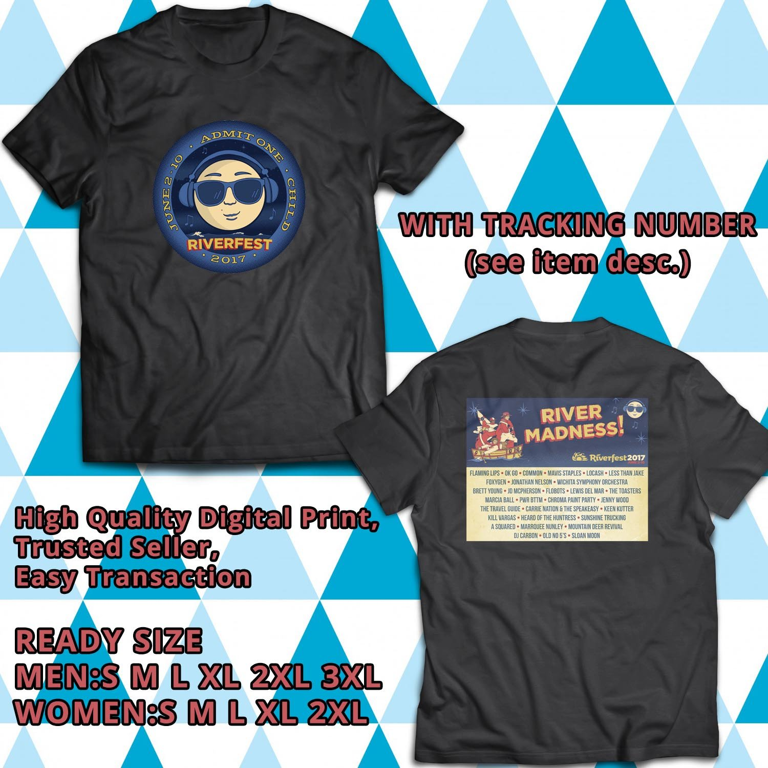 HITS WICHITA RIVER FEST 2017 BLACK TEE'S 2SIDE MAN WOMEN ASTR 998
