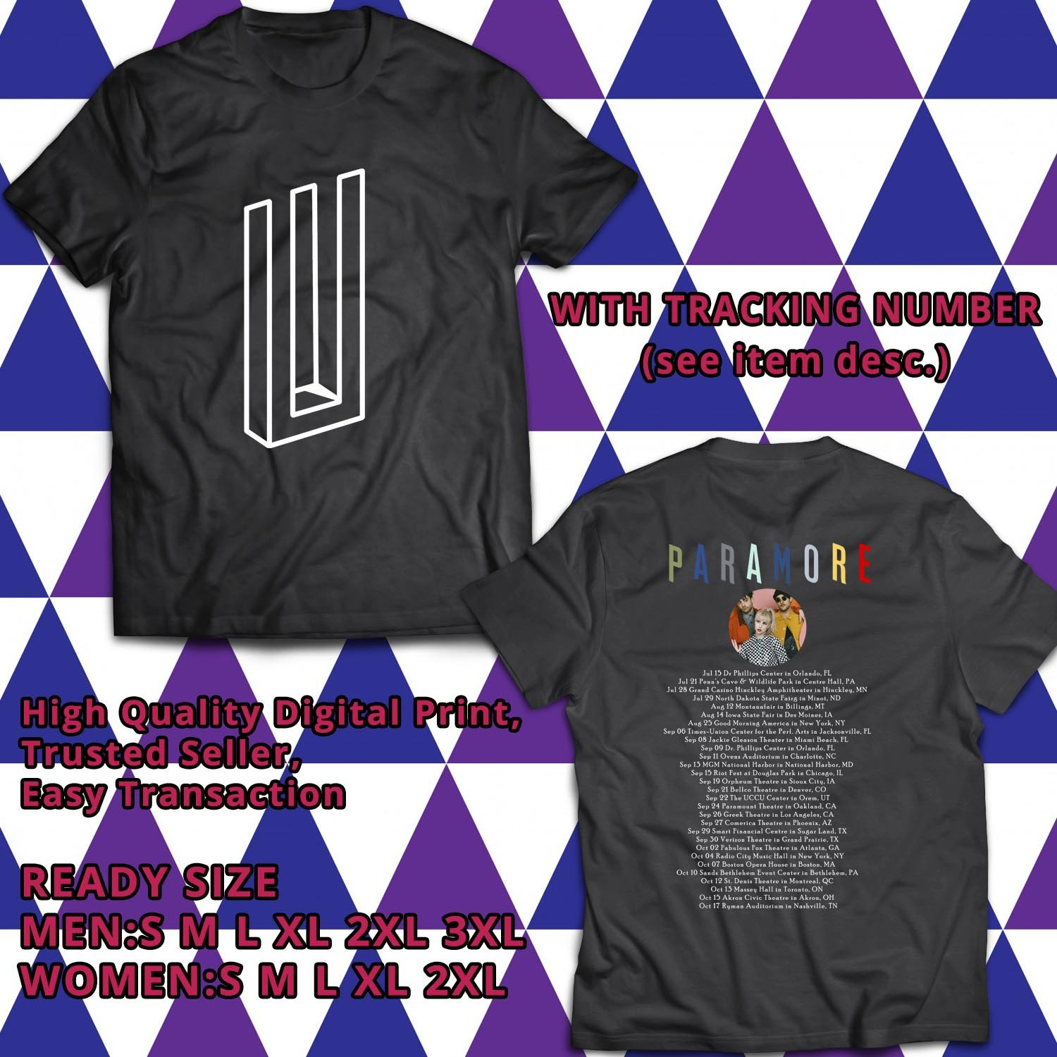 HITS PARAMORE AFTER LAUGHTER ALBUM TOUR TWO 2017 BLACK TEE'S 2SIDE MAN WOMEN ASTR