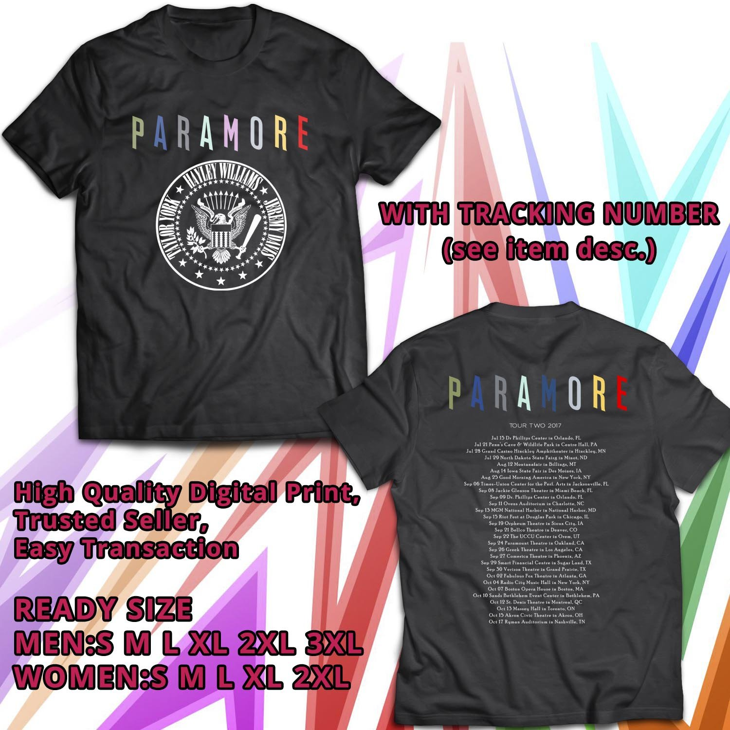 HITS PARAMORE AFTER LAUGHTER ALBUM TOUR TWO 2017 BLACK TEE'S 2SIDE MAN WOMEN ASTR 889