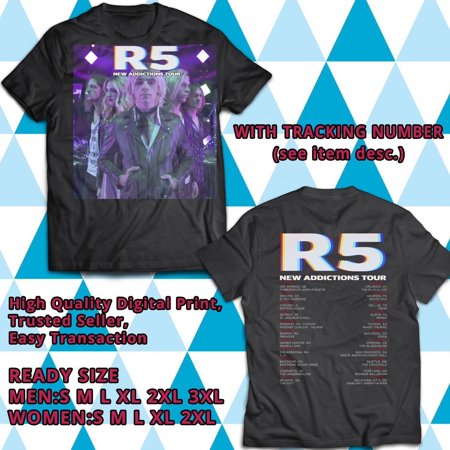 HITS R5 NEW ADDICTIONS NORTH AMERICA TOUR 2017 BLACK TEE'S 2SIDE MAN WOMEN ASTR 990