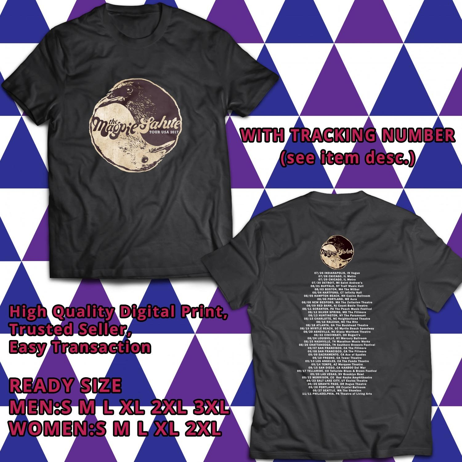 HITS THE MAGPIE SALUTE UNITED STATES TOUR 2017 BLACK TEE'S 2SIDE MAN WOMEN ASTR 221