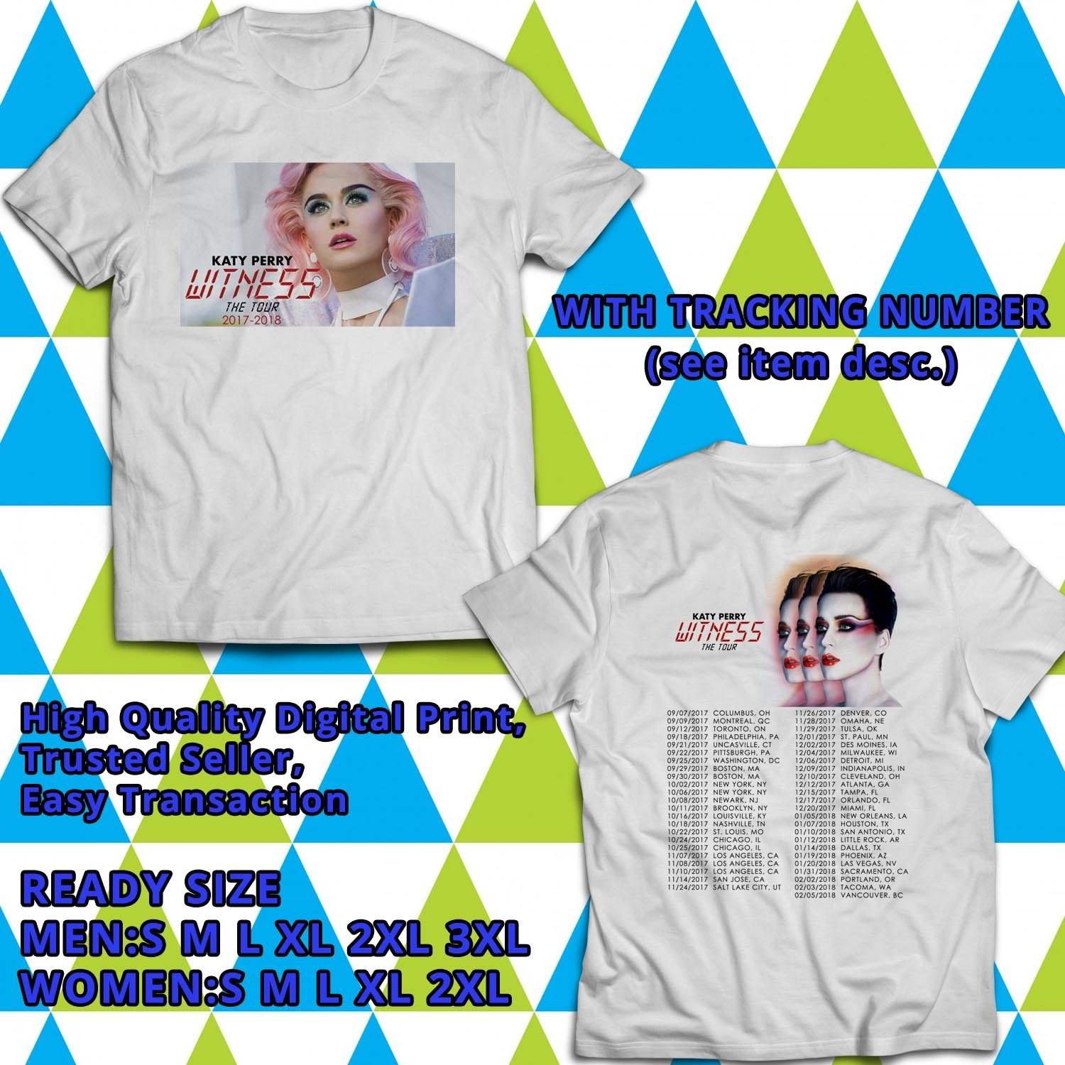 HITS KATY PERRY WITNESS TOUR 2017 WHITE TEE'S 2SIDE MAN WOMEN ASTR 600