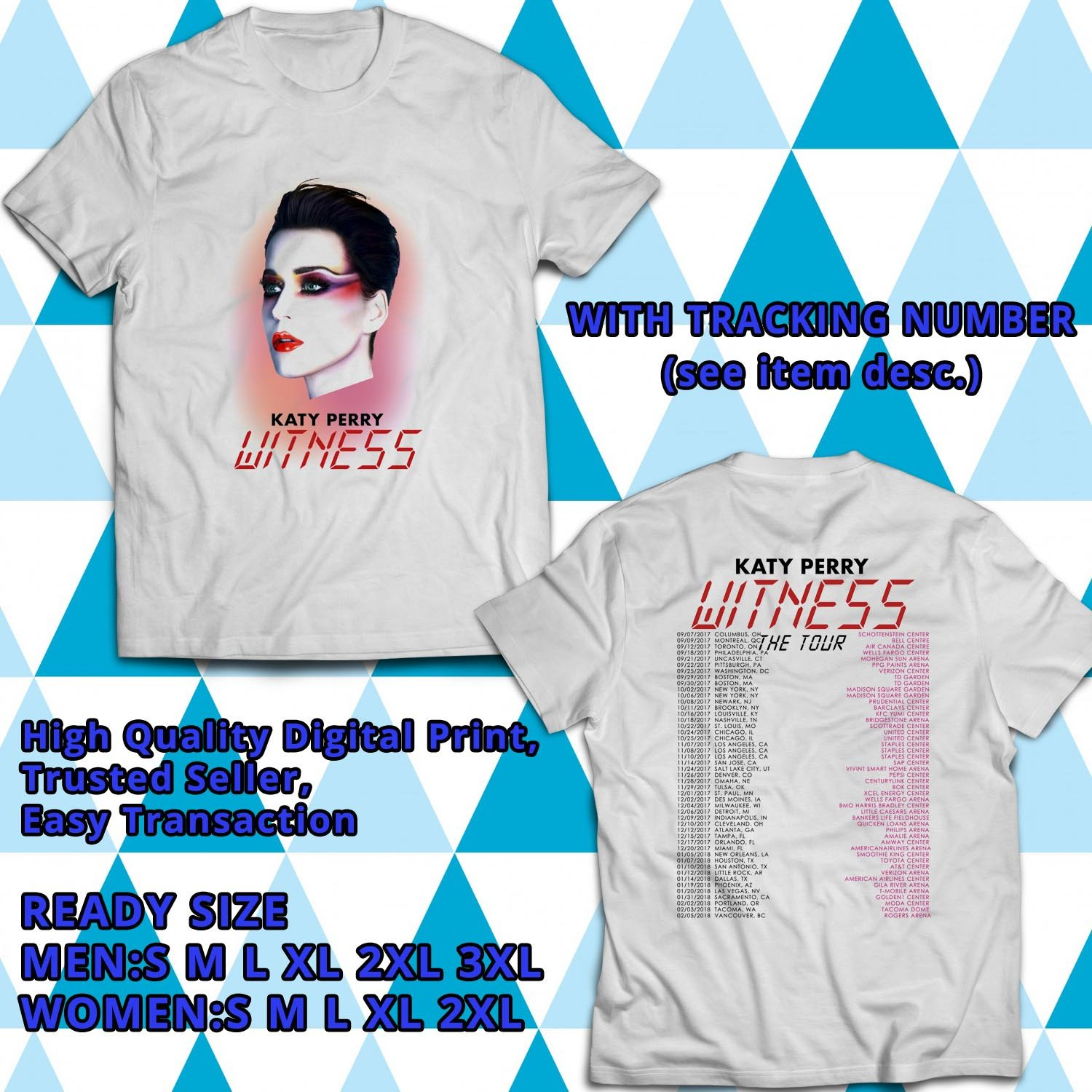 HITS KATY PERRY WITNESS TOUR 2017 WHITE TEE'S 2SIDE MAN WOMEN ASTR 300