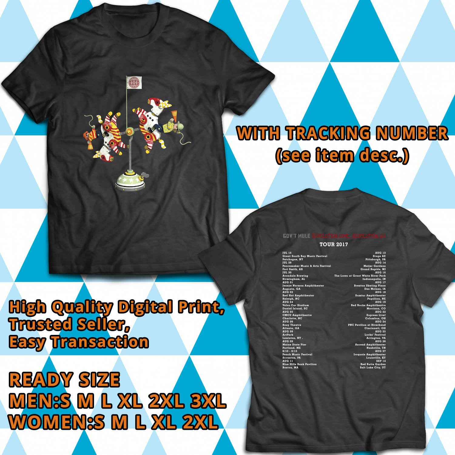 HITS GOVT MULE REVOLUTION COME REVOLUTION GO TOUR 2017 BLACK TEE'S 2SIDE MAN WOMEN ASTR 542