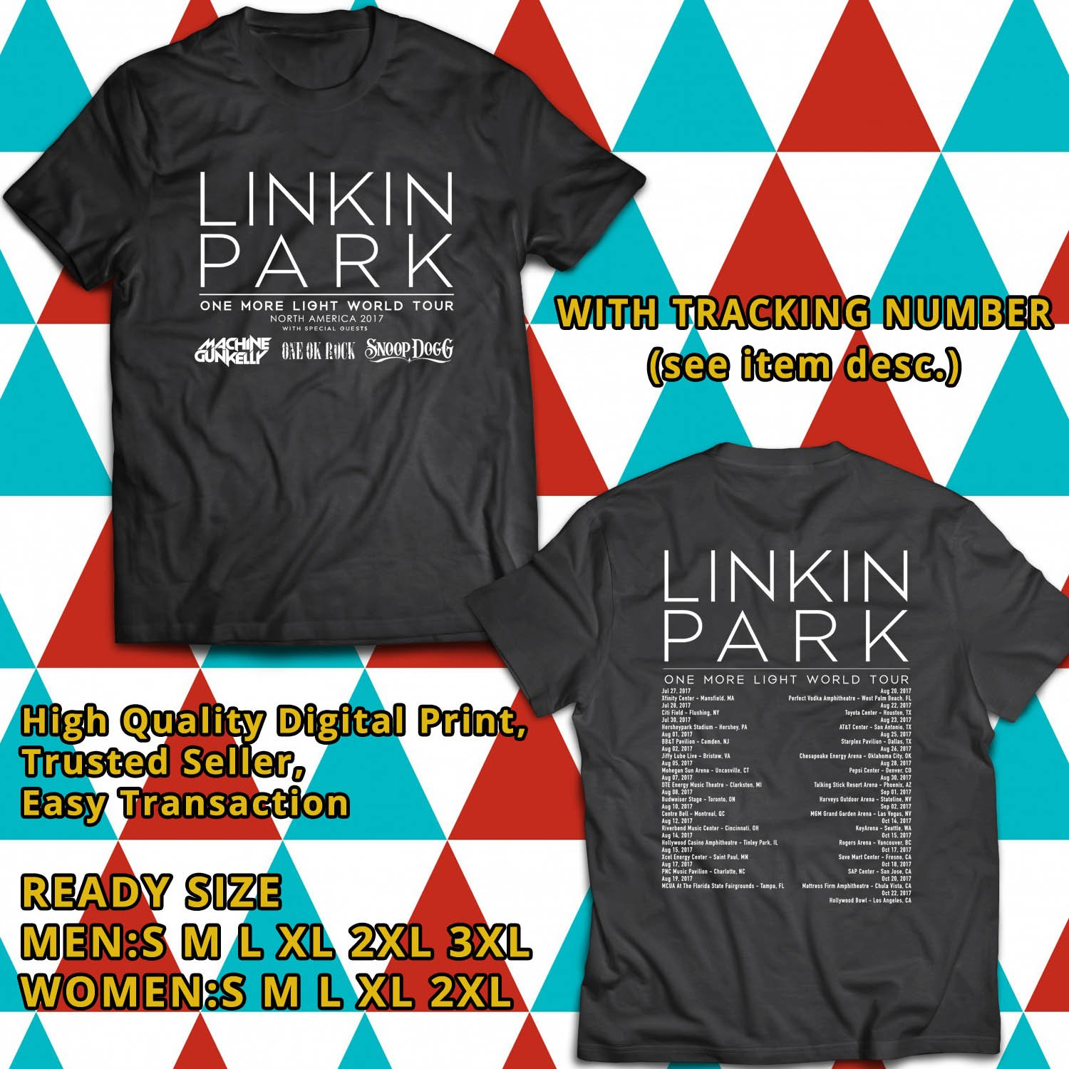 HITS LINKIN PARK ONE MORE LIGHT TOUR 2017 BLACK TEE'S 2SIDE MAN WOMEN ASTR 887