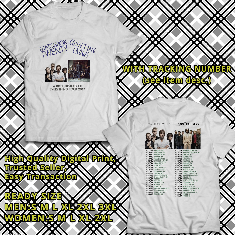 HITS MATCHBOX TWENTY&COUNTING CROWS TOUR 2017 WHITE TEE'S 2SIDE MAN WOMEN ASTR 667