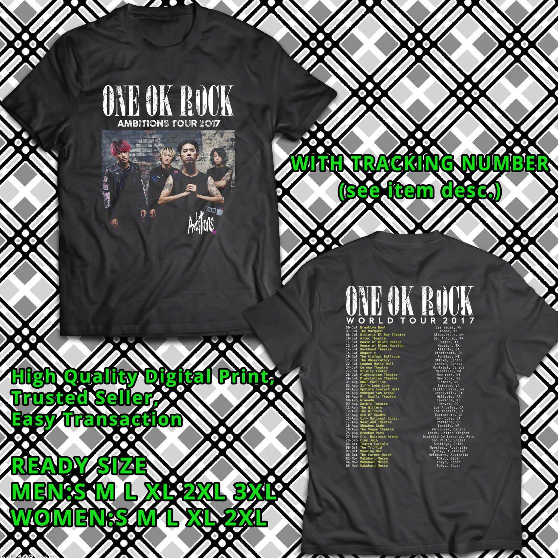 HITS ONE OK ROCK AMBITONS X TOUR 2017 BLACK TEE'S 2SIDE MAN WOMEN ASTR 443