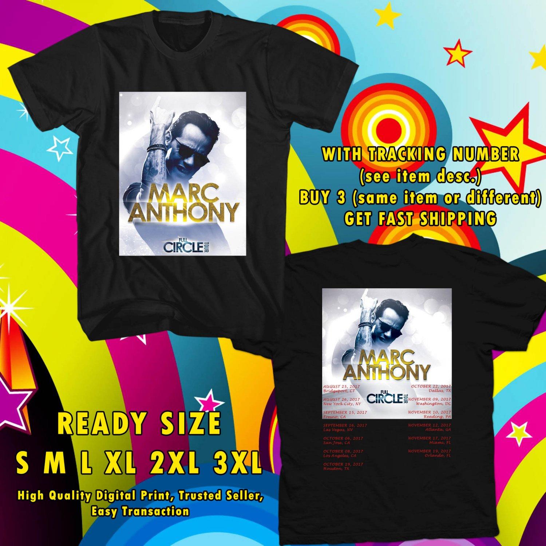 HITS MARC ANTHONY FULL CIRCLE USA TOUR 2017 BLACK TEE'S 2SIDE MAN WOMEN ASTR