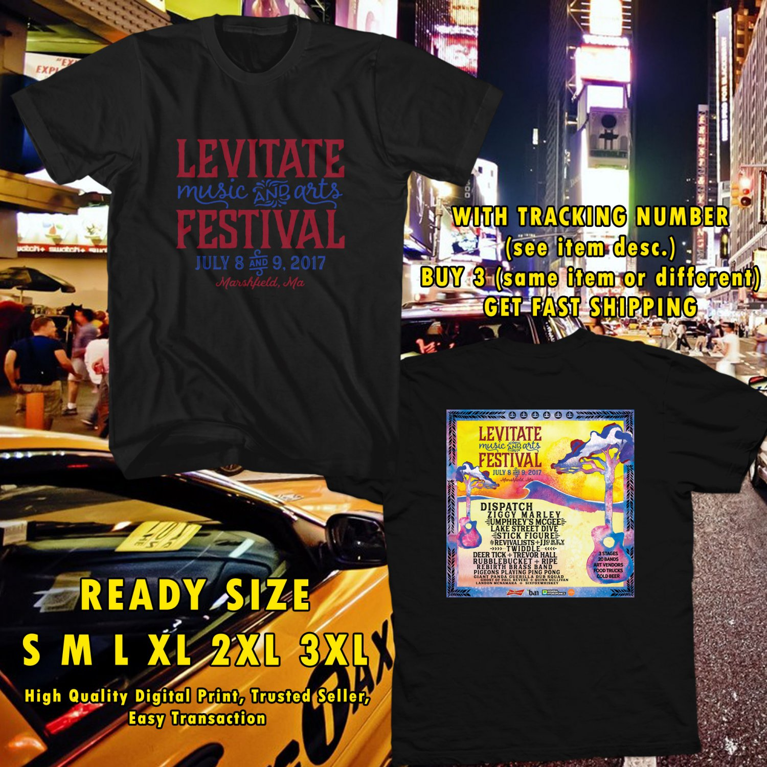HITS LEVITATE FEST ON JULY 2017 BLACK TEE'S 2SIDE MAN WOMEN ASTR 665