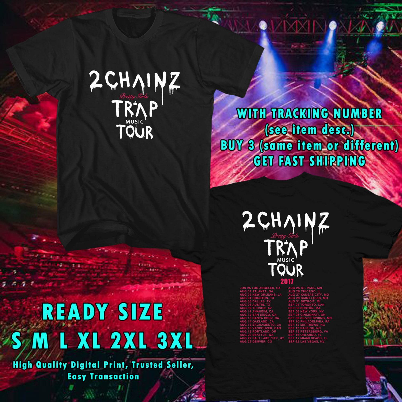 HITS 2 CHAINZ PRETTY GIRLS LIKE TRAP MUSIC TOUR 2017 BLACK TEE'S 2SIDE MAN WOMEN ASTR 443